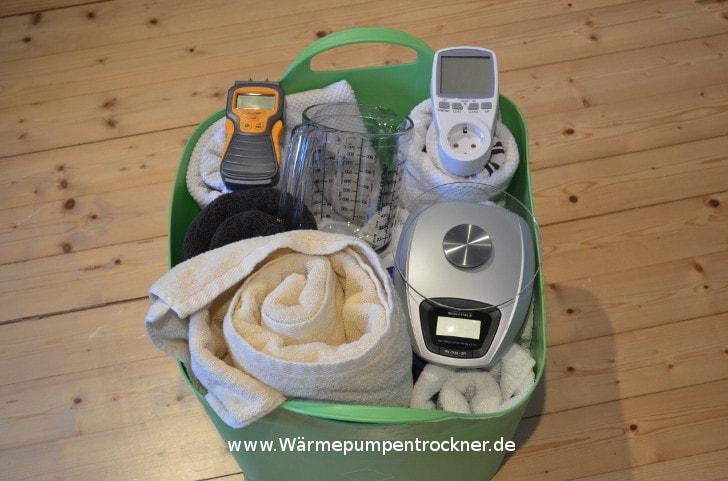 Alles Sachen die wir zum Wärmepumpentrockner Test verwenden.