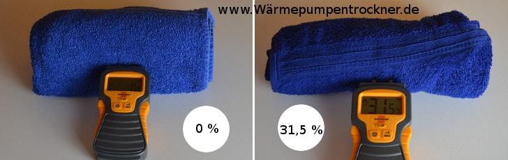 Wir Testen die Feuchtigkeit des Handtuches mit einem Feuchtigkeitsmesser.