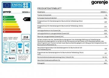 Gorenje D8560 Wärmepumpentrockner / A++ / 8 kg / Uselogic/ weiß - 3