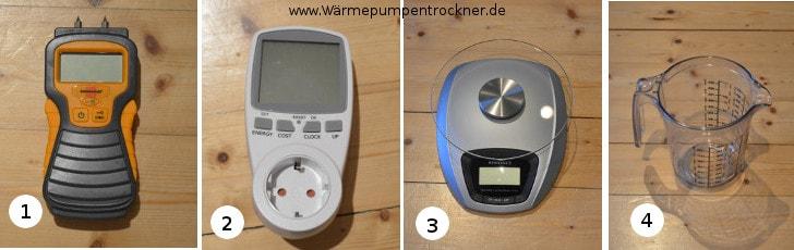 Die verschiedenen Messgeräte für den Test.