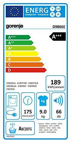 Gorenje D 9866 E Wärmepumpentrockner / A+++ / 9 kg / Automatische Programmunterbrechnung bei geöffneter Tür / weiß - 2