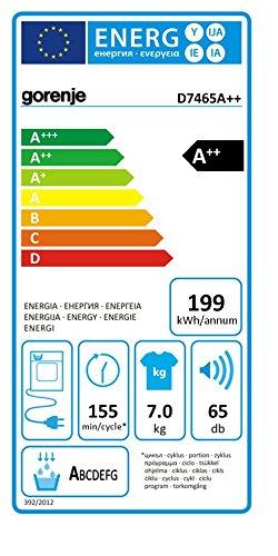 Gorenje D7465A++ Wärmepumpentrockner / A++ / 1.6 kWh / 7 kg  / Knitterschut / 15 Programme / weiß - 2