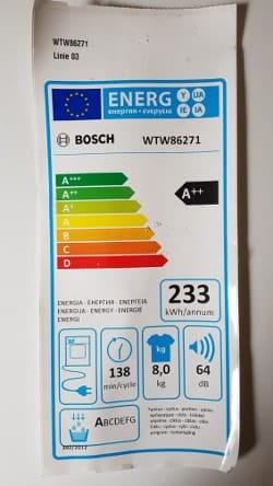 Die Angaben vom Hersteller zum Bosch WTW86271.