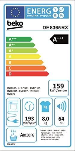 Beko DE8635RX Wämepumpentrockner/A+++ (-10%) / 84,6 cm Höhe / 159 kWh/Jahr / Weiß -